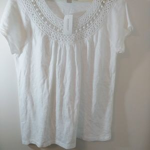 Banana Republic White Tee Top 100% cotton
